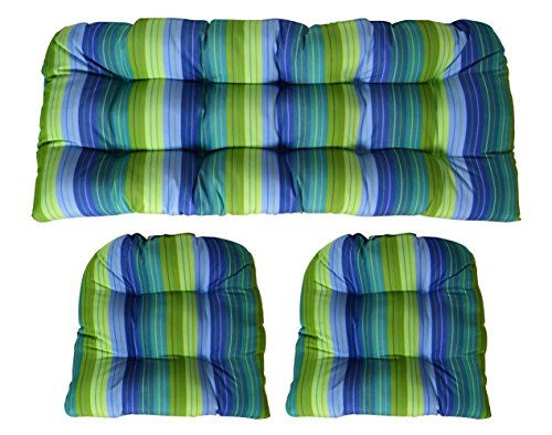 RSH Decor 3 Piece Wicker Cushion Set - Indoor/Outdoor Wicker Loveseat Settee & 2 Matching Chair Cushions - Sunbrella Seville Seaside - Blue, Turquoise, Olive and Lime Green Stripe 2 Piece Settee