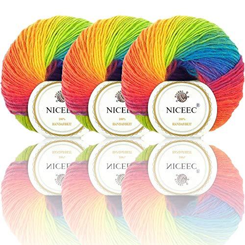 NICEEC 3 Skeins 100% Wool Rainbow Yarn Single Ply Yarn Soft Gradient Colorful Yarn Self-Striping Crochet Yarn for Knitting-11# (Self Striping Wool Yarn)
