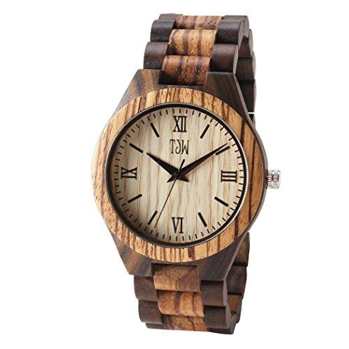 TJW Mens Natural wooden Watches Analog Quartz Handmade Casual Wrist Watch 6006-4M (zebra (Casual Wood)