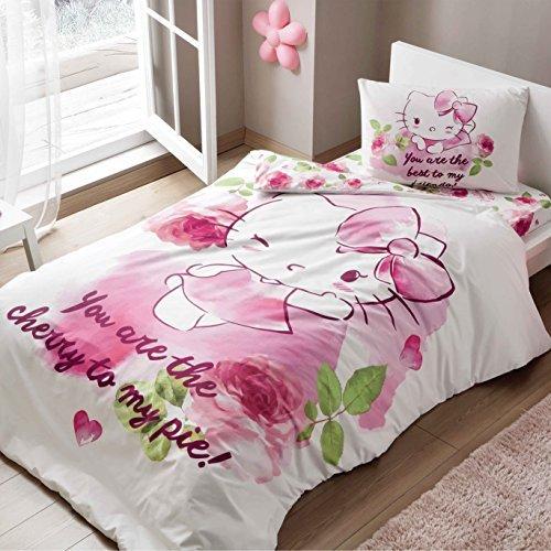 Hello Kitty Cherry Duvet Cover Set, 100% Cotton, Single Size, 3 Pc