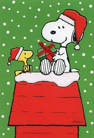Vintage Peanuts Snoopy Woodstock Bright Happy Holiday Christmas Card