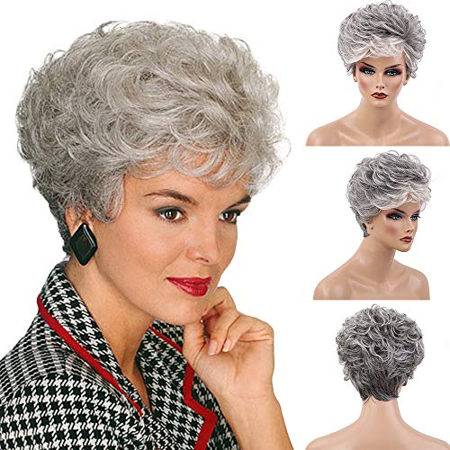 BLONDDE UNICORN Ombre Short Grey Human Hair Wigs Curly Hair Wigs for Women