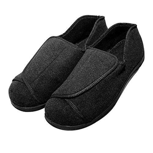 Cozy Ankle Women's Extra Wide Swollen Foot Slippers Elderly Women Diabetic Shoes for Edema Fasciitis Bunions Feet (9 B(M) US, Black)