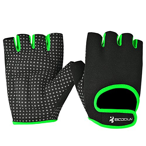 NIUEIMEE Cycling Bike Bicycle Motorcycle Shockproof Outdoor Sports Half Finger Short Gloves (Green, XL)