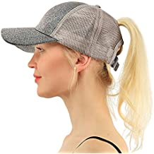 COCO LEE Trend Glitter Baseball Cap for High Ponytail Women's Messy Bun Glitter Trucker Baseball Cap Special for Women Girl