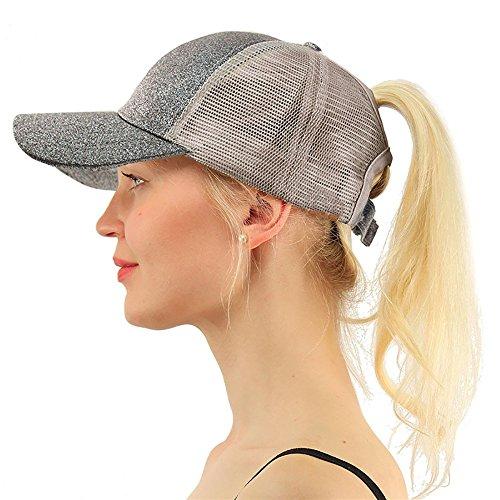 (COCO LEE Trend Glitter Gray Baseball Cap for High Ponytail Women's Messy Bun Glitter Trucker Baseball Cap for Women Girl)