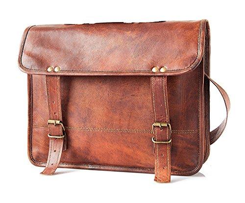 Handmade Leather Unisex Real Leather Messenger Bag for Laptop Briefcase Satchel …
