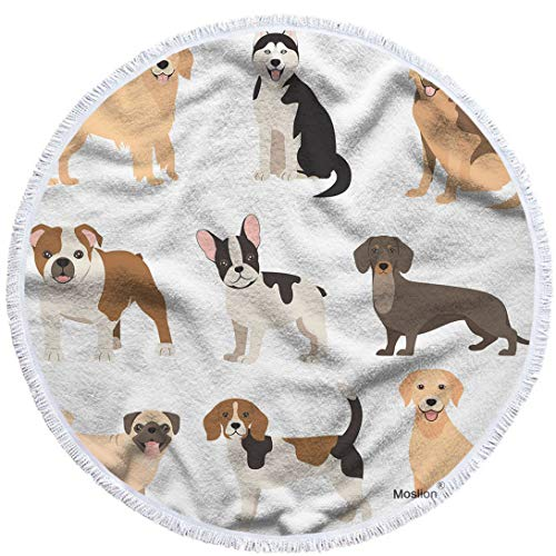 wel Blanket Cute Cartoon Animal Doggy Puppy Breed Bulldog Beagle Dachshund Towel Soft Microfiber Tapestry with Tassel 63 Inches for Kids Adults ()