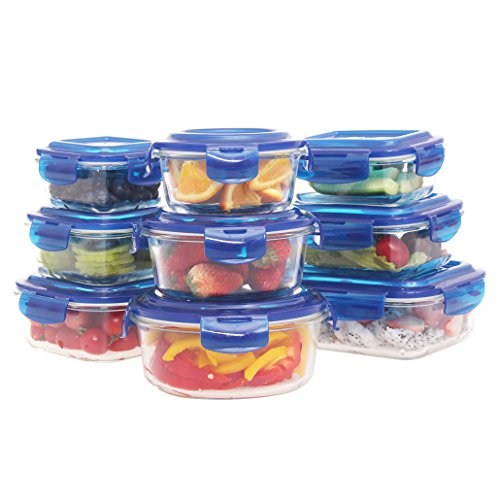 ontainer-18 Pieces Set(9 Containers+9 Lids)0Glass Glass Lunch Containers Bento Boxes Airtight Food Storage Meal Prep Containers with Lids BPA-Free,for Home Kitchen or Restaurant (Leftovers Containers)
