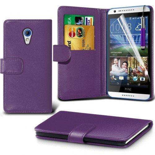 HTC Desire 820 Cubierta del caso con cuero (Púrpura) Plus de regalo libre, Protector de pantalla y un lápiz óptico, Solicitar ahora mejor caja del teléfono Valorado en Amazon! By FinestPhoneCases
