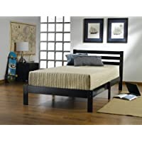 Home Life Short Headboard Black Wood Platform Bed with Slats Twin - Complete Bed 5 Year Warranty included