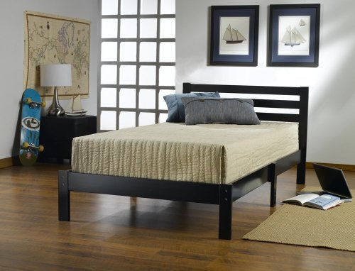 Home Life 10002 Short Headboard Black Wood Platform Bed with Slats Queen - Complete Bed 5 Year Warranty included