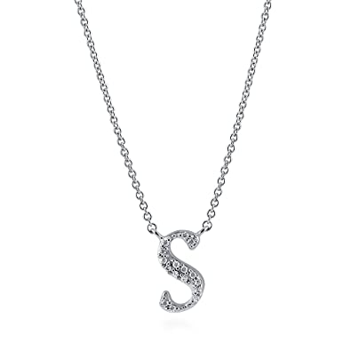 04b35174f55bf Rhodium Plated Sterling Silver Cubic Zirconia CZ Initial Letter  S  Pendant  Necklace 16
