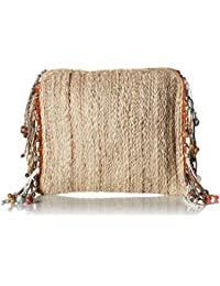 Netty Festival Straw Clutch Crossbody with Sea Shell Wooden, Color Bead Tassels
