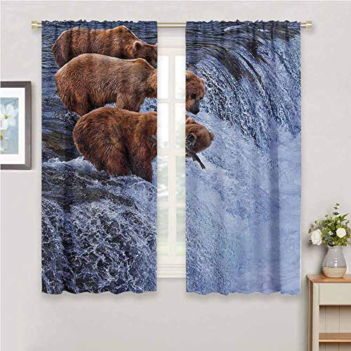 GUUVOR Wildlife Decor Room Darkened Curtain Grizzly Bears Fishing in River Waterfalls Cascade Alaska Nature Camp View Insulated Room Bedroom Darkened Curtains W54 x L63 Inch Brown White