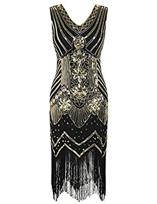kayamiya Women's 1920s Gatsby Dress Sequin Embellished Cocktail Fringed Flapper Dress