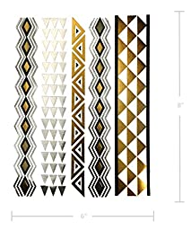 Beautiful Metallic Tattoos – Over 50+ Stylish Designs – Silver, Black, and Gold Temporary Metallic Tattoos - Fake Shimmer Jewelry - Feathers, Doves, Dreamcatcher, Arrows, Stars (Azalea Collection)