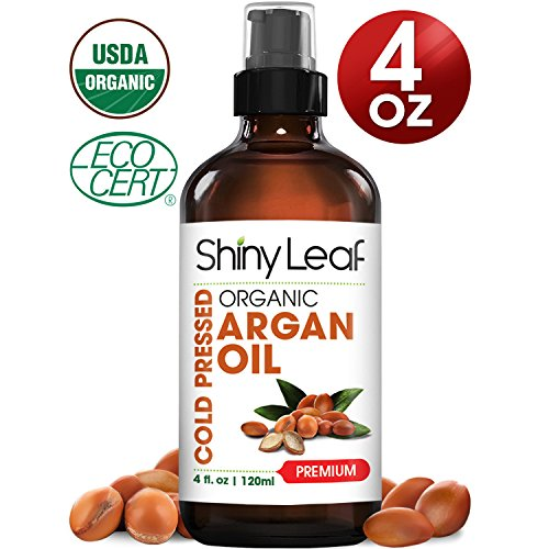 Shiny Leaf Organic Argan Oil for Hair, Face and Body – 100% Pure Morrocan Oil, Natural Moisturizer, Prevents Signs of Aging, Promotes Smooth Hair, Makes Skin Soft and Glowing, Premium Quality 4oz