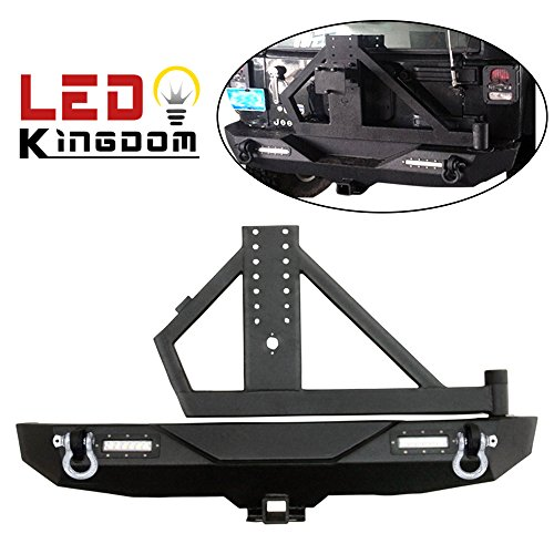 LEDKINGDOMUS Jeep Wrangler JK Rear Bumper with Hitch Receiver and Heavy Duty Tire Carrier