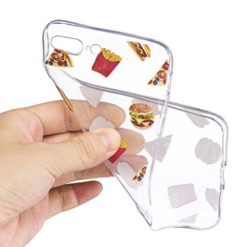 Per iPhone 7 Plus Custodia ,Per iPhone 8 Plus Custodia ,ZXLZKQ Cristallo Hamburger Trasparente Morbido TPU Silicone Coperchio Skin Shell Caso Cover Bumper Protezione Case Per iPhone 7 Plus / iPhone 8