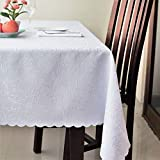 """Stain Resistant Turkish White Tablecloth Polyester Table Cover - Rectangle Square Round Washes Easily Non Iron - Thanksgiving Christmas Dinner Wedding New Year Eve Gift (WHITE, Rectangle 60""""x104"""")"""