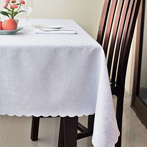(Stain Resistant Turkish White Tablecloth Polyester Table Cover - Rectangle Square Round Washes Easily Non Iron - Thanksgiving Christmas Dinner Wedding New Year Eve Gift (WHITE, Rectangle)
