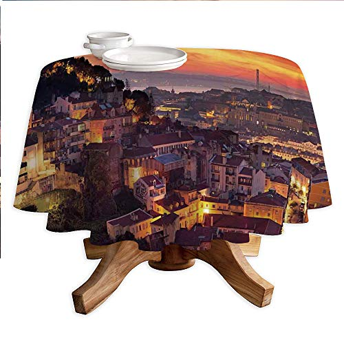 """Cityscape Round Polyester Tablecloth,Cityscape of Lisbon Portugal Traditional Seaside City Colorful Sky Sunset Evening View,Dining Room Kitchen Round Table Cover,60"""" Tablecloth Brown"""