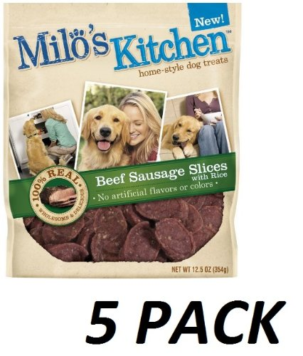 5 Pack Milo s Kitchen Dog Treats, Beef Sausage Slices with Rice, 12.5-Ounce Package