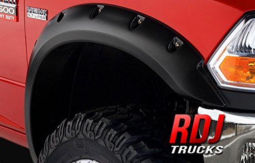 RDJ Trucks PRO-Offroad Bolt-On Style Fender Flares - Fits Ram 2500/3500 2010-2018 - Set of 4 - Smooth Paintable OE Black Finish