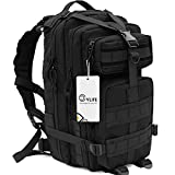 CVLIFE Outdoor Tactical Backpack Military Rucksacks for Camping Hiking and Trekking Waterproof 30L (Black)