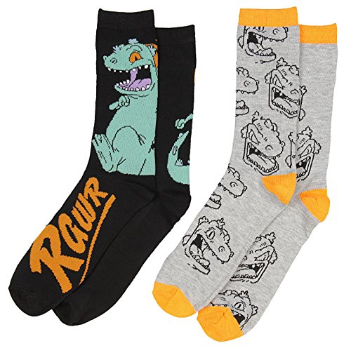 Nickelodeon Rugrats Reptar Rawr Men's 2 Pack Casual Crew Socks from Hypnotic Hats