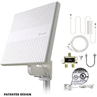 HDTV Antenna for 2 TVs, ANTOP 65 Miles Digital Amplified Outdoor RV/TV Antenna 360 Degree Omni Directional for UHF/VHF Reception Enhanced with Tools-Free Installation and 2 Way Signal Splitter
