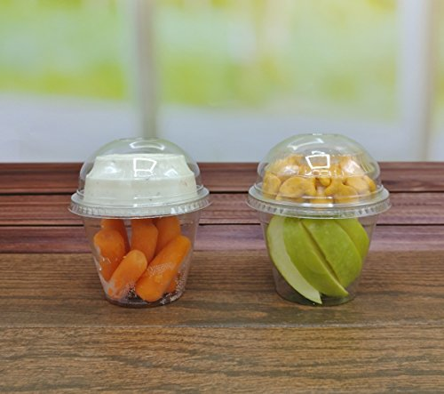 25 count Grab n' Go Parfait/Snack Cup, Includes Insert with Lid, and Dome Lid with Signature Party Picks (9 ounce) -