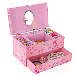 Songmics ballerina musical jewelry box girls for Amazon ballerina musical jewelry box