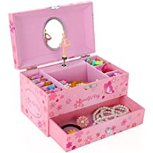SONGMICS Ballerina Musical Jewelry Box Girls Jewel Storage Case UJMC003