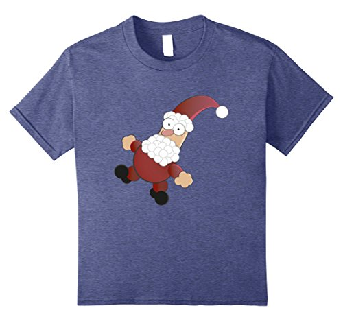 Kids Lovely Round Funny Small Santa Claus | Christmas T-Shirt 8 Heather Blue