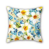 NICEPLW 18 x 18 inches / 45 by 45 cm flower pillowcover,two sides is fit for gril friend,boy friend,coffee house,car,pub,him