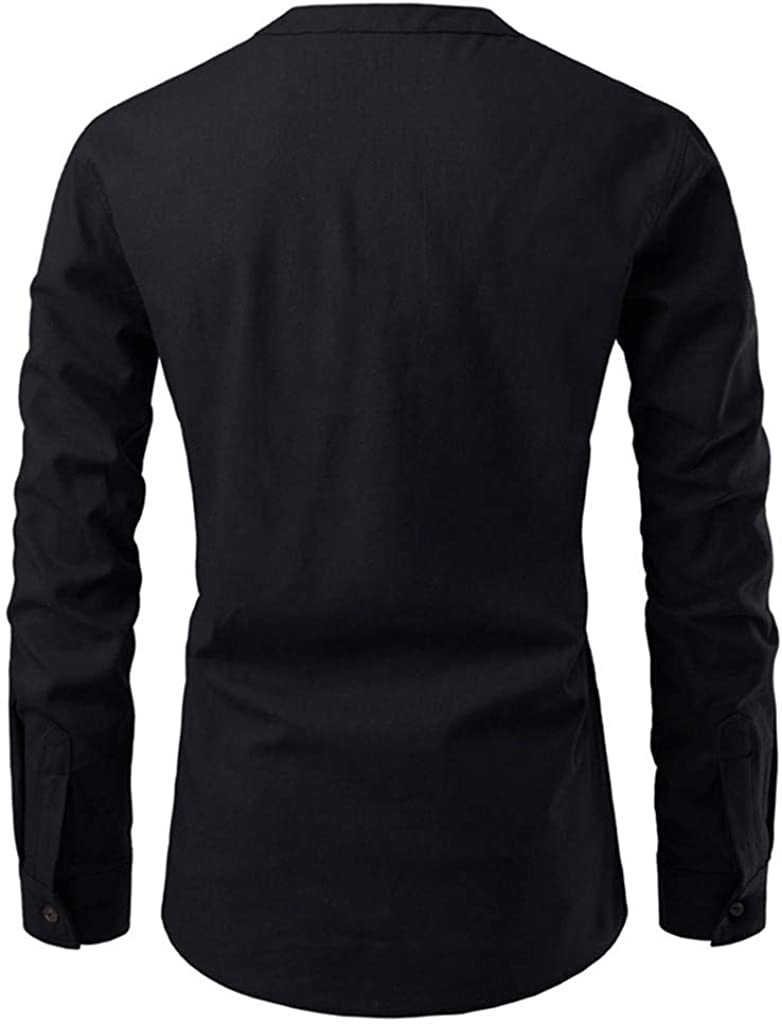iZZZHH Mens Fashion Solid Color Slim Fit Blouse Button Stand Collar Long Sleeve Shirt Top