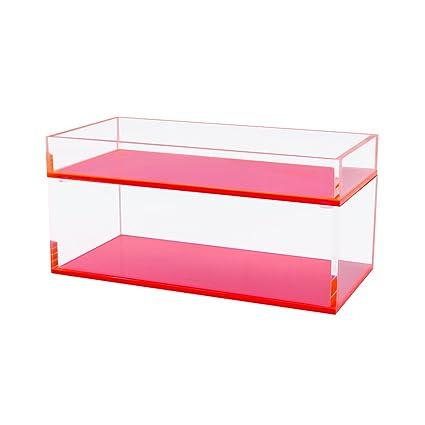 Rosa acrílico Set de bandejas apilables con de profundidad caja de parte inferior y superior de