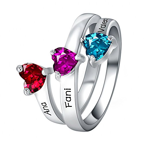 Griony 925 Silver Engraved Ring with 3 Name and Birthstones For Mom wife as a love gift by Griony