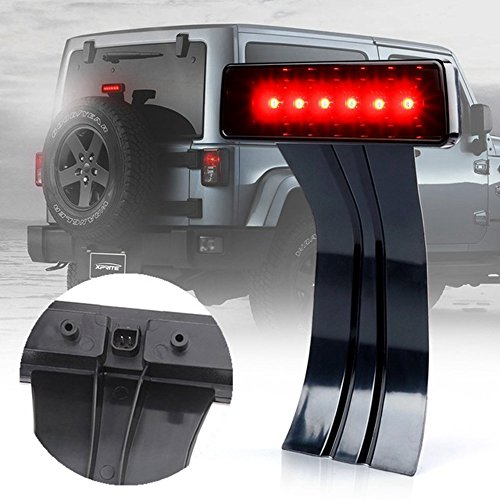 Partol 3rd Third LED Brake Light For 2007-2018 Jeep Wrangler JK and Unlimited Clear Lens Tail Lights Lamp