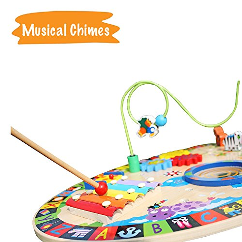 Pidoko Kids All-in-1 Multi-Activity Learning Center - Wooden Play Table for Toddlers Preschool Age - Multifunctional Baby Educational Toy with Bead Maze,Xylophone,Pound & Tap Bench (Adjustable Height) by Pidoko Kids (Image #5)