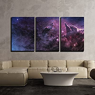 3 Piece Canvas Wall Art - Purple Nebula and Cosmic Dust in Star Field - Modern Home Art Stretched and Framed Ready to Hang - 16