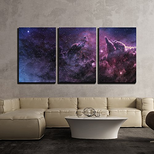 wall26 - 3 Piece Canvas Wall Art - Purple Nebula and Cosmic Dust in Star Field - Modern Home Decor Stretched and Framed Ready to Hang - 24''x36''x3 Panels by wall26