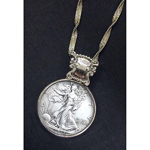 Walking Liberty Half Dollar Coin in Silvertone Bezel