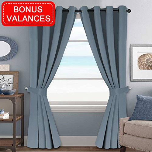 H.VERSAILTEX Bedroom Curtains Blackout Panels Three Pass Microfiber Thermal Insulated Grommet Window Treatment Set Stone Blue (2 Panels of 52″W by 84″L, 2 Valances for Free) Review