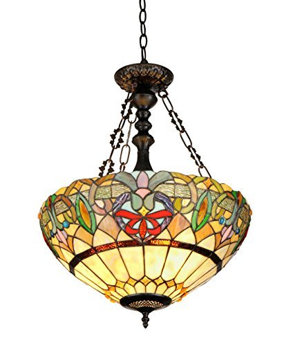Chloe Lighting CH33360VR18-UH2 Hester, Tiffany-Style Victorian 2-Light Inverted Ceiling Pendent, 18-Inch, Multi-colored by Chloe Lighting