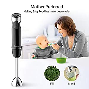Immersion Blender, Hand Immersion Blender Set 4-in-1, 6 Speeds Variable Control and Turbo with 500ml Food Processor, Electric Hand Whisk and 600ml Beaker by Willsence