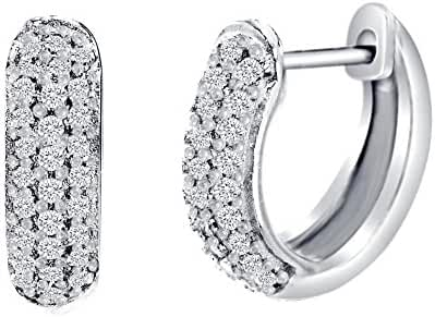 18K White Gold Over Sterling Silver Cubic Zirconia Pave Huggie Hoop Earrings