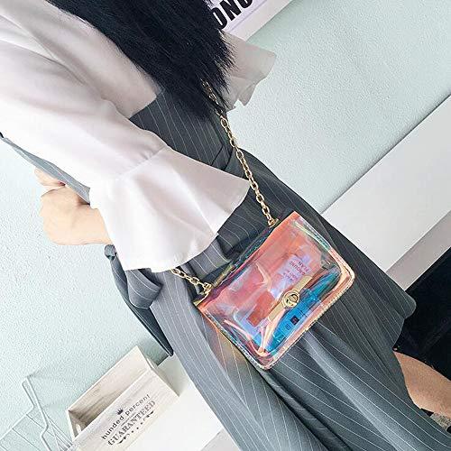 Mini Moda De Claro Bandolera Citas Cuadrada Bolsos Pequeña Hombro Compras GYZ Cadena Bolso Bolsa Mujer Cerradura Durable Un Billetera Oro Impermeable Brillante Láser Minimalista U6FqCxw